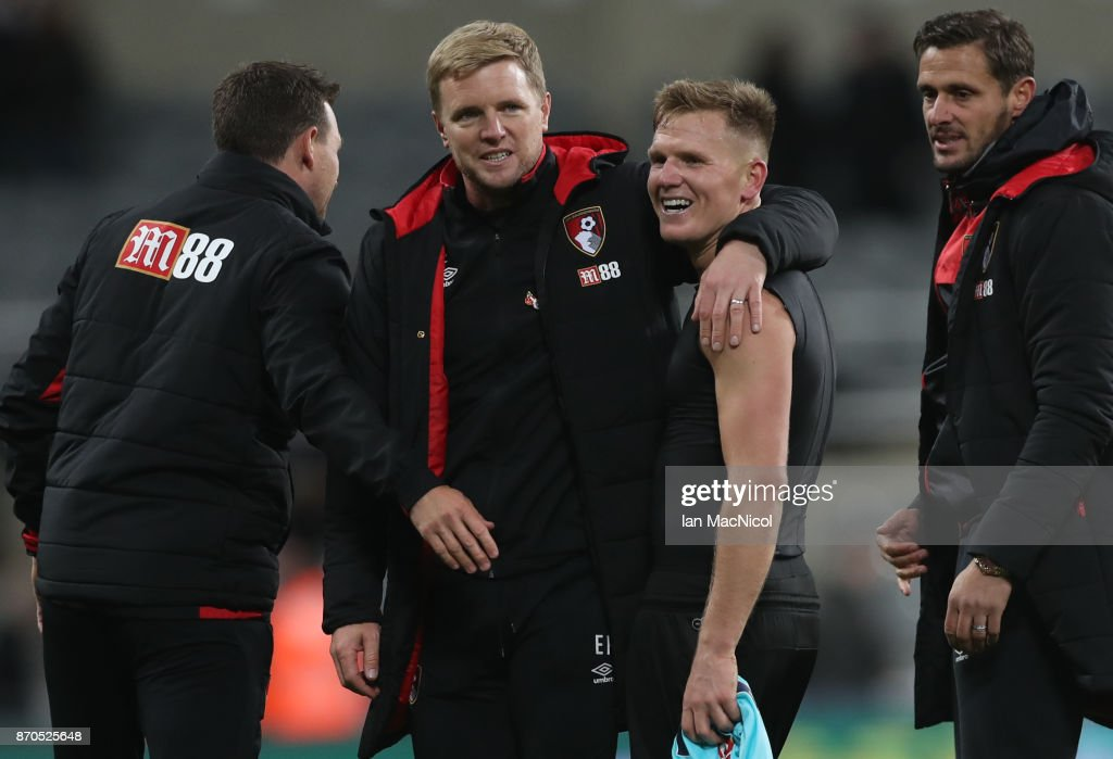 Eddie Howe manager of Bournemouth is seen with his former player Matt Ritchie of Newcastle United during the Premier League match between Newcastle United and AFC Bournemouth at St. James Park on November 4, 2017 in Newcastle upon Tyne, England.