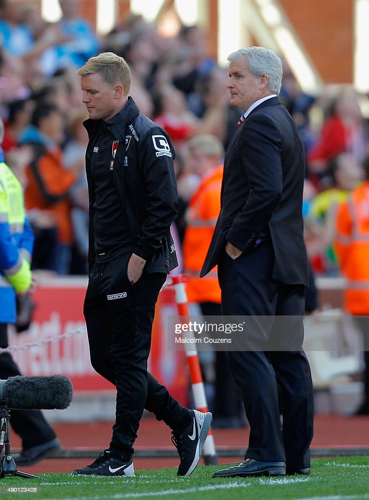 Eddie Howe Manager (L) of Bournemouth leaves after the Barclays Premier League match between Stoke City and A.F.C. Bournemouth at Britannia Stadium on September 26, 2015 in Stoke on Trent, United Kingdom.