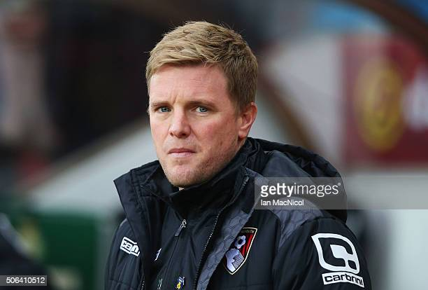 Eddie Howe Manager of Bournemouth looks on prior to the Barclays Premier League match between Sunderland and AFC Bournemouth at the Stadium of Light...