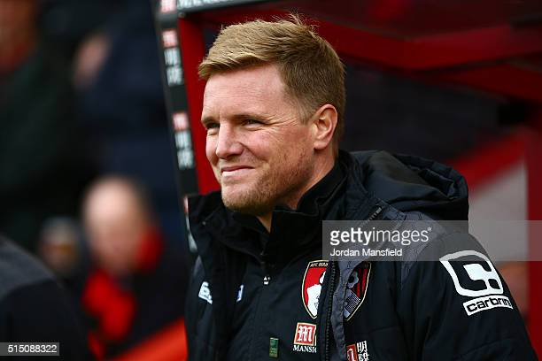 Eddie Howe Manager of Bournemouth looks on prior to the Barclays Premier League match between AFC Bournemouth and Swansea City at Vitality Stadium on...