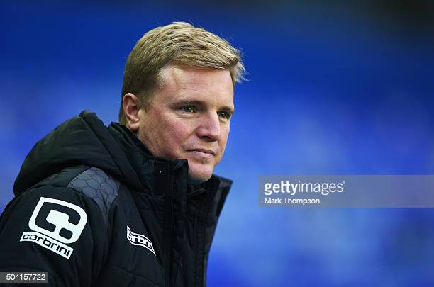 Eddie Howe Manager of Bournemouth looks on prior to the Emirates FA Cup Third Round match between Birmingham City and AFC Bournemouth at St Andrews...