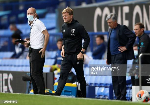 Eddie Howe Manager of Bournemouth looks on prior to the Premier League match between Everton FC and AFC Bournemouth at Goodison Park on July 26 2020...