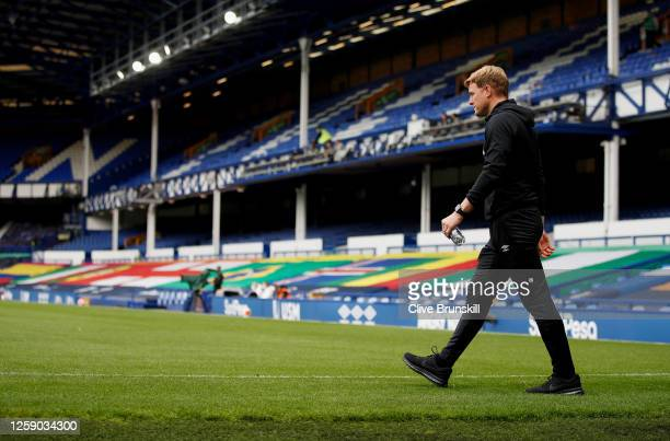 Eddie Howe Manager of Bournemouth walks out prior to the Premier League match between Everton FC and AFC Bournemouth at Goodison Park on July 26 2020...