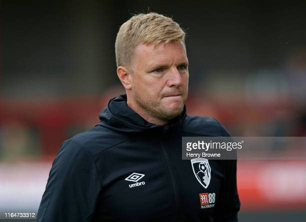 Eddie Howe of AFC Bournemouth during the Pre-Season Friendly match between Brentford FC and AFC Bournemouth at Griffin Park on July 27, 2019 in...