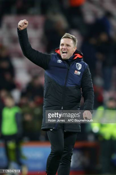 Eddie Howe of Bournemouth celebrates after his sides 40 during the Premier League match between AFC Bournemouth and Chelsea FC at Vitality Stadium on...