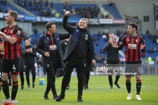 Eddie Howe of Bournemouth celebrates after his sides 50 win during the Premier League match between Brighton Hove Albion and AFC Bournemouth at...