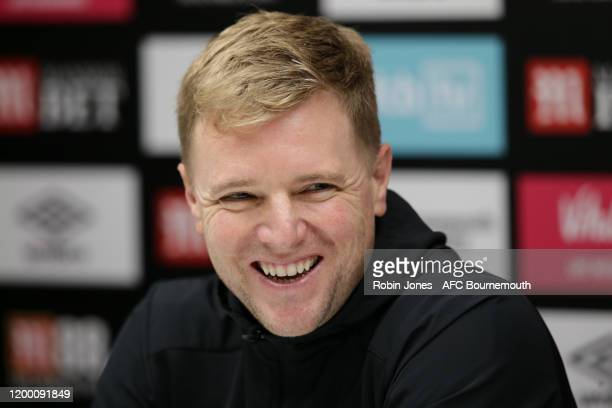 Eddie Howe of Bournemouth during a press conference at Vitality Stadium on January 17, 2020 in Bournemouth, England.
