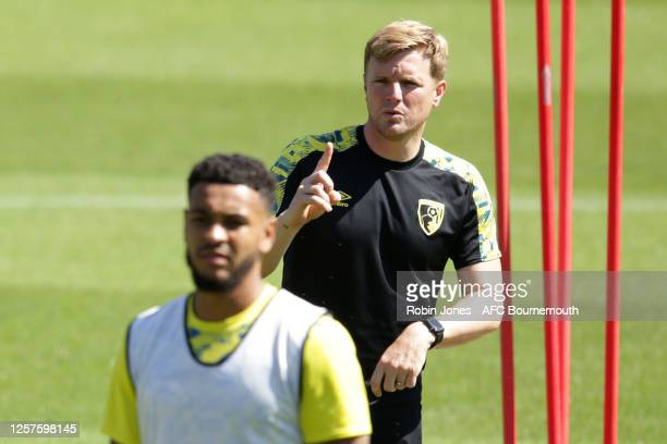 Eddie Howe of Bournemouth during a training session at the Vitality Stadium on July 22 2020 in Bournemouth England