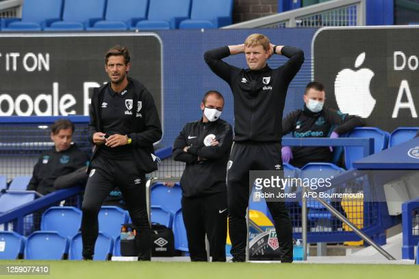 Eddie Howe of Bournemouth during the Premier League match between Everton FC and AFC Bournemouth at Goodison Park on July 26 2020 in Liverpool England