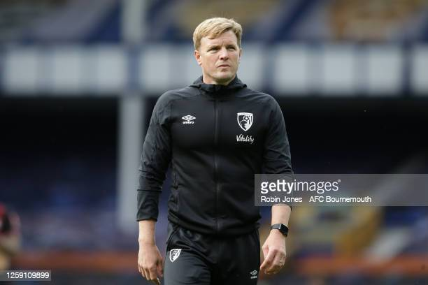 Eddie Howe of Bournemouth leaves the pitch after his side are relegated after the Premier League match between Everton FC and AFC Bournemouth at...