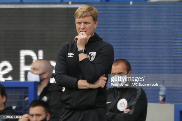 Eddie Howe of Bournemouth looks on during the Premier League match between Everton FC and AFC Bournemouth at Goodison Park on July 26 2020 in...