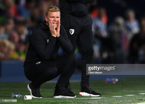 Eddie Howe of Bournemouth reacts during the Pre-Season Friendly match between West Bromwich Albion and Bournemouth at The Hawthorns on July 26, 2019...