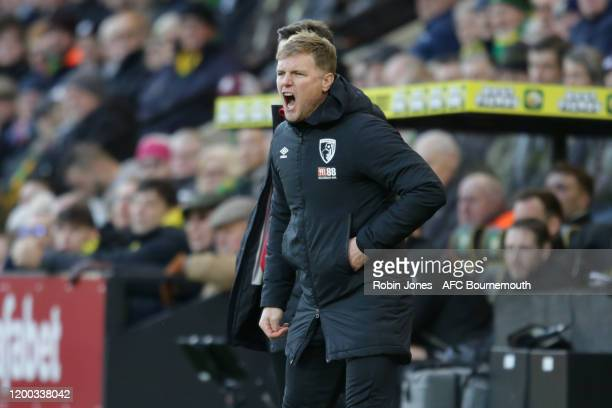 Eddie Howe of Bournemouth shouts instructions during the Premier League match between Norwich City and AFC Bournemouth at Carrow Road on January 18...