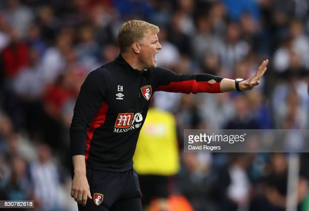 Eddie Howe the Bournemouth manager shouts instructions during the Premier League match between West Bromwich Albion and AFC Bournemouth at The...