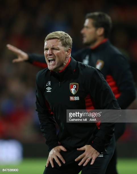 Eddie Howe the head coach / manager of AFC Bournemouth during the Premier League match between AFC Bournemouth and Brighton and Hove Albion at...