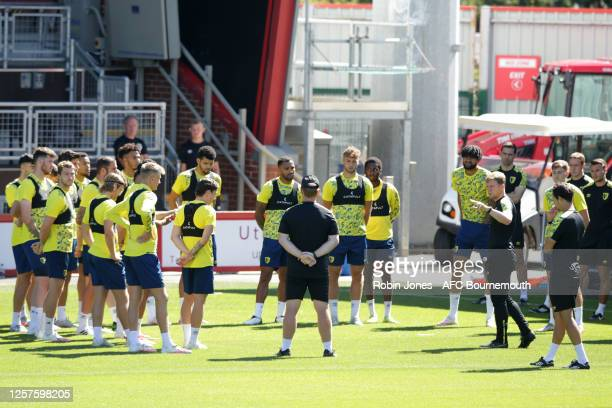 Eddie Howe with his Bournemouth players before a training session at the Vitality Stadium on July 22 2020 in Bournemouth England
