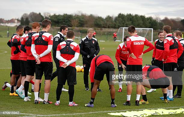 Eddie HoweBournemouth FC manager during a training session at Kings Park next to the Goldsands Stadium on December 152014 in BournemouthEngland
