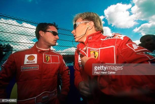 Eddie Irvine Mika Salo Ferrari F399 Grand Prix of Belgium Circuit de SpaFrancorchamps 29 August 1999 Eddie Irvine with Ferrari teammate Mika Salo
