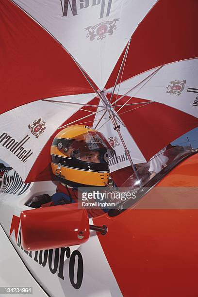 Eddie Irvine of Great Britain sits aboard the Marlboro Pacific Racing Reynard 89DMugen during the FIA International F3000 Championship race on 20th...