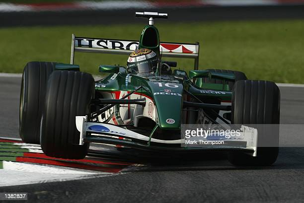 Eddie Irvine of Northern Ireland and Jaguar in action during second practice for the FIA Formula One Italian Grand Prix at the Autodromo di Monza...