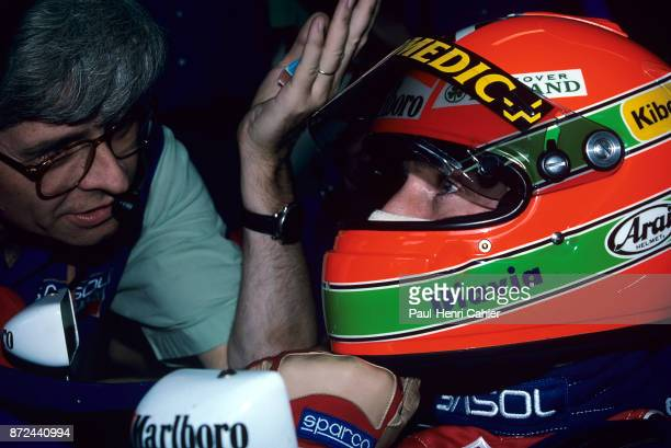 Eddie Irvine Steve Nichols JordanHart 194 Grand Prix of Italy Autodromo Nazionale Monza 11 September 1994 Eddie Irvine with engineer Steve Nichols