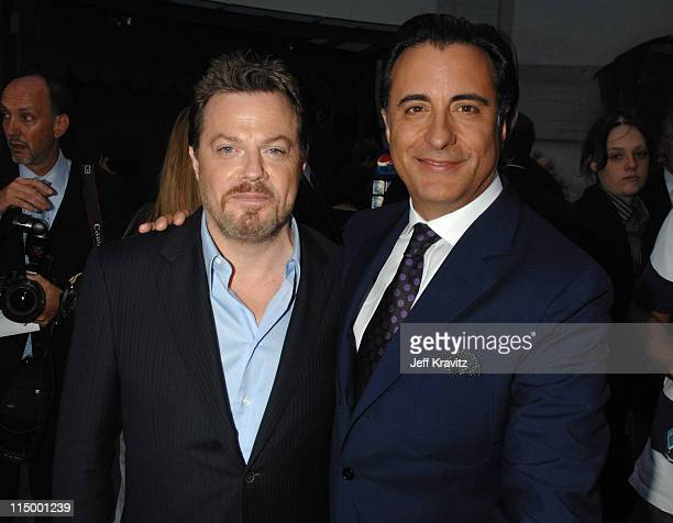 Eddie Izzard and Andy Garcia during 'Ocean's Thirteen' Los Angeles Premiere Red Carpet at Grauman's Chinese Theater in Hollywood California United...