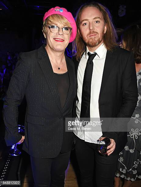 Eddie Izzard and Tim Minchin attend the Summer Gala for The Old Vic at The Brewery on June 27 2016 in London England