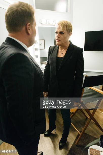 Eddie Izzard chats in the green room with James Corden during The Late Late Show with James Corden Monday June 19 2017 On The CBS Television Network
