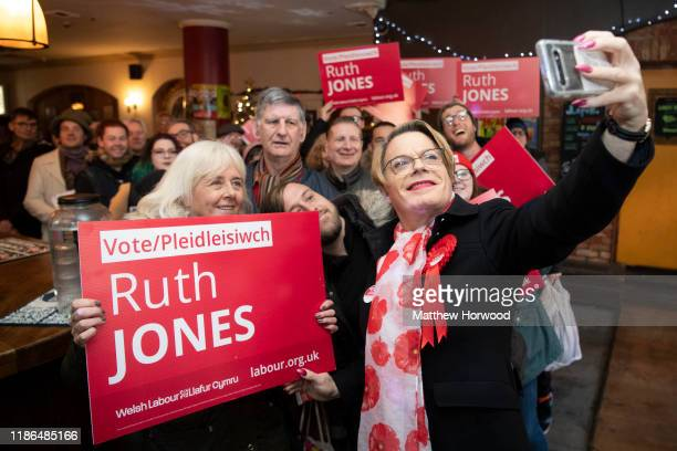 Eddie Izzard comedian and political activist takes a selfie in Le Pub in Newport during a visit to Newport to show support for Ruth Jones Labour...