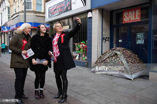 Eddie Izzard comedian and political activist takes a selfie while visiting Newport to show support for Ruth Jones Labour Party candidate for Newport...