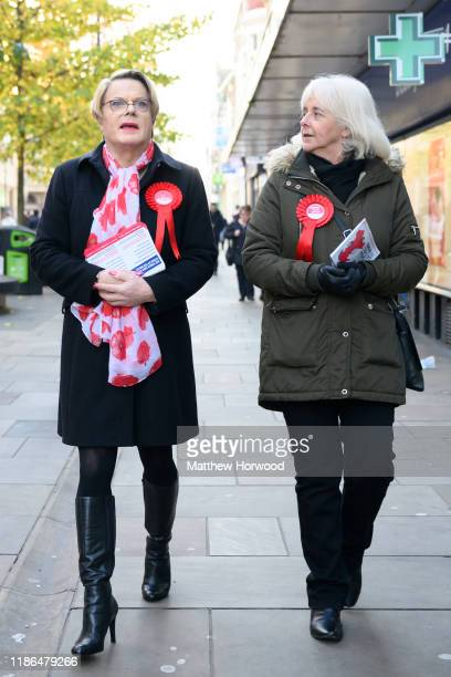 Eddie Izzard comedian and political activist visits Newport to show support for Ruth Jones Labour Party candidate for Newport West and Jessica Morden...
