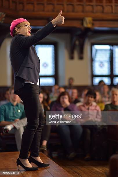Eddie Izzard gives the thumbs up as he addresses The Cambridge Union on the EU Referendum on June 12 2016 in Cambridge Cambridgeshire After joining...