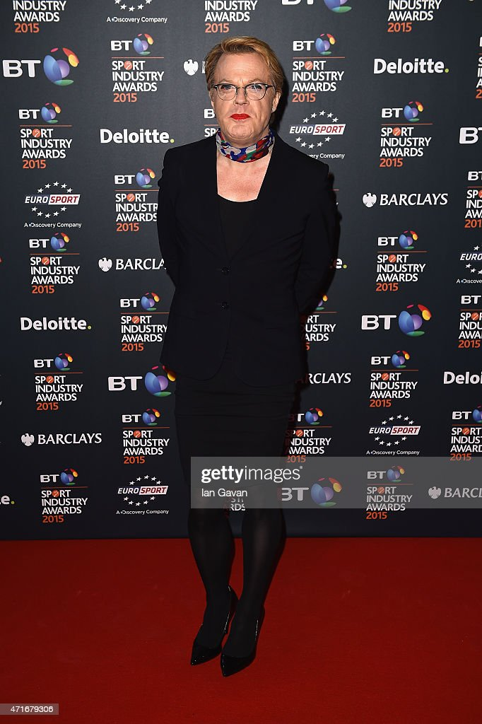Eddie Izzard poses on the red carpet at the BT Sport Industry Awards 2015 at Battersea Evolution on April 30, 2015 in London, England. The BT Sport Industry Awards is the most prestigious commercial sports awards ceremony in Europe, where over 1750 of the industry's key decision-makers mix with high profile sporting celebrities for the most important networking occasion in the sport business calendar.