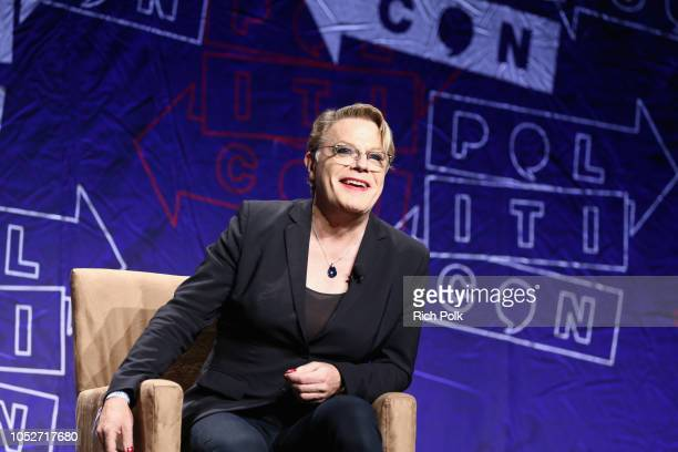 Eddie Izzard speaks onstage during Politicon 2018 at Los Angeles Convention Center on October 21 2018 in Los Angeles California