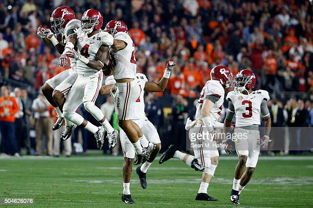 Eddie Jackson of the Alabama Crimson Tide celebrates with his teammates after a play against the Clemson Tigers during the 2016 College Football...