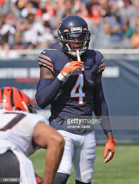Eddie Jackson of the Chicago Bears awaits the snap against the Cincinnati Bengals at Soldier Field on September 19, 2021 in Chicago, Illinois. The...