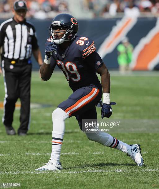 Eddie Jackson of the Chicago Bears calls signals against the Atlanta Falcons during the season opening game at Soldier Field on September 10 2017 in...
