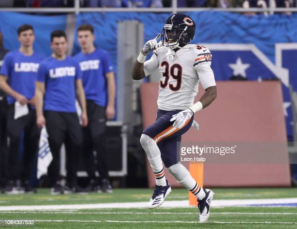 Eddie Jackson of the Chicago Bears celebrates his touchdown after he ran back a Matthew Stafford of the Detroit Lions interception during the fourth...