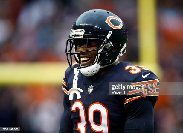 Eddie Jackson of the Chicago Bears reacts after the Bears intercepted the football in the fourth quarter against the Carolina Panthers at Soldier...