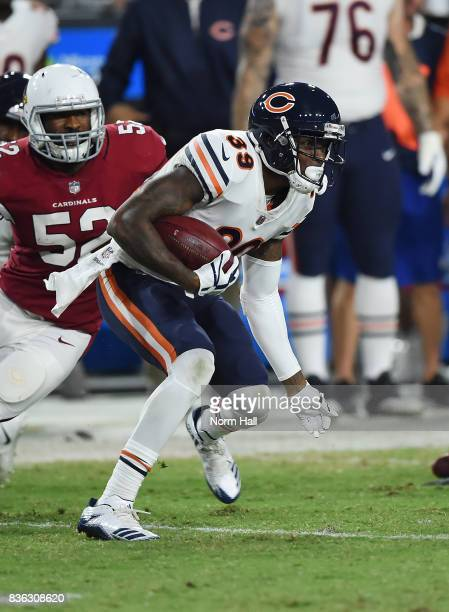 Eddie Jackson of the Chicago Bears runs with the ball against the Arizona Cardinals at University of Phoenix Stadium on August 19 2017 in Glendale...