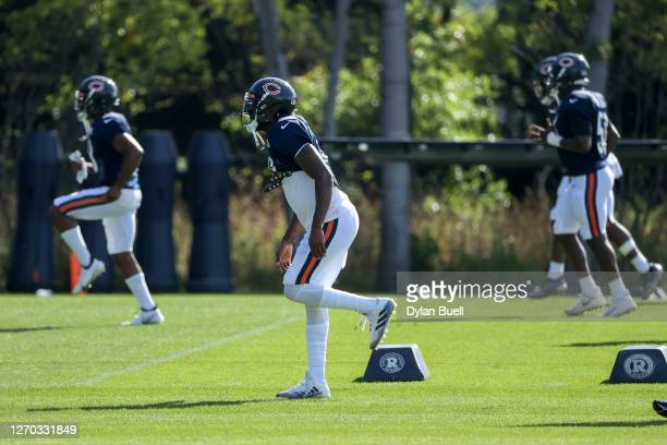 Eddie Jackson of the Chicago Bears stretches during training camp at Halas Hall on September 02, 2020 in Lake Forest, Illinois.