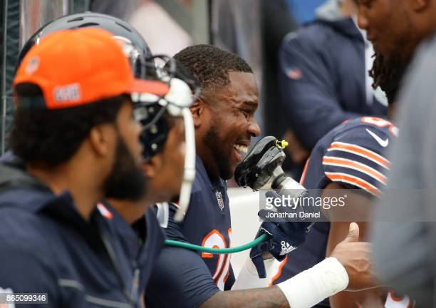 Eddie Jackson of the Chicago Bears takes oxygen after scoring a touchdown on an interception against the Carolina Panthers in the second quarter at...