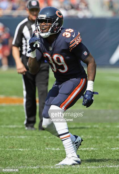 Eddie Jackson of the Chicago Bears yells out the play against the Atlanta Falcons during the season opening game at Soldier Field on September 10...