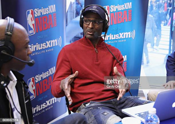 Eddie Johnson and cohosts Greg Anthony Justin Termine and Sam Mitchell take part in SiriusXM's NBA Radio Playoff Preview live from the NBA Store on...