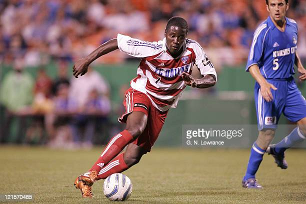 Eddie Johnson of FC Dallas advances the ball against the Kansas City Wizards during an MLS game on May 7 2005 at Arrowhead Stadium in Kansas City Mo...