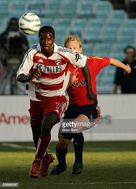 Eddie Johnson of FC Dallas takes the ball downfield against Real Salt Lake in the first half on April 23 2005 in Dallas Texas FC Dallas won 30