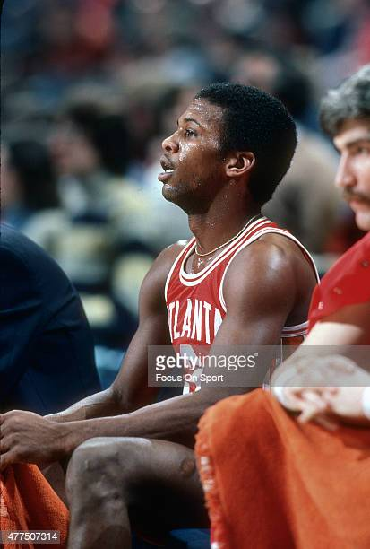 Eddie Johnson of the Atlanta Hawks looks on from the bench against the Washington Bullets during an NBA basketball game circa 1977 at the Capital...