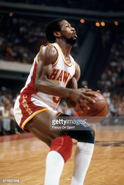 Eddie Johnson of the Atlanta Hawks looks to shoot during an NBA basketball game circa 1980 at the Omni Coliseum in Atlanta Georgia Johnson played for...