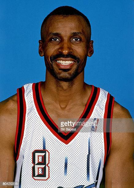 Eddie Johnson of the Houston Rockets smiles for a portrait during the Houston Rockets media day on October 1 1999 at the Toyota Center in Houston...