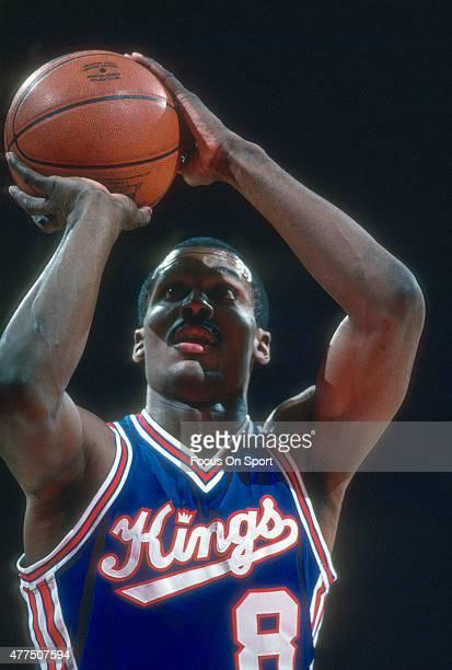 Eddie Johnson of the Kansas City Kings shoots a free throw against the Washington Bullets during an NBA basketball game circa 1984 at the Capital...